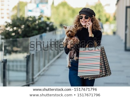красивой молодые блондинка ходьбы мало собака Сток-фото © ElenaBatkova