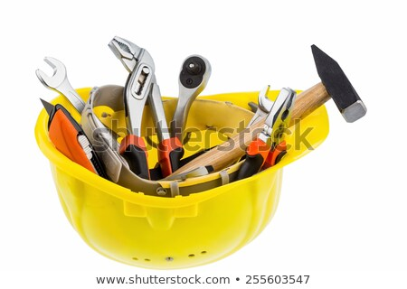 Safety Helmet With Tools In The Black Container Stock photo © AndreyPopov