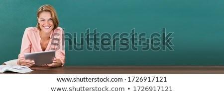 幸せ 教授 教師 タブレット 緑 ストックフォト © AndreyPopov