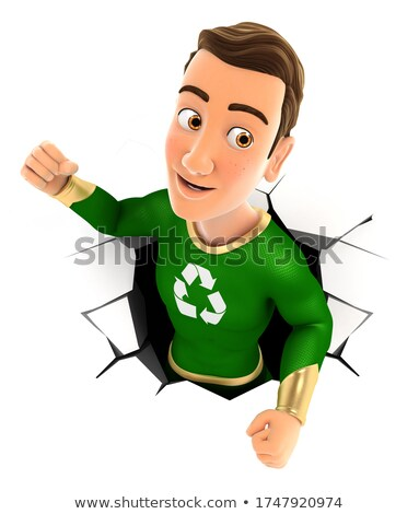 3d green hero coming out through a wall Stock photo © 3dmask