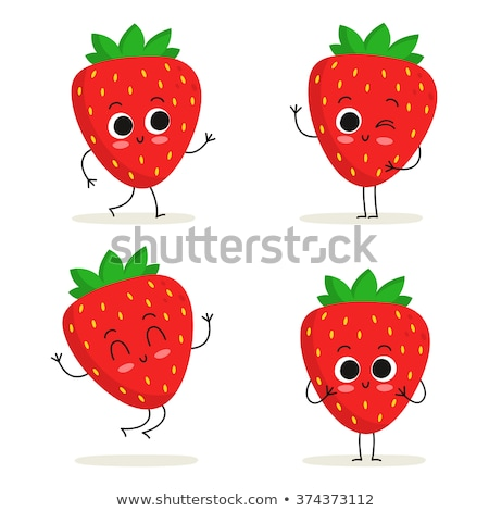 vector set of strawberry cartoon Stock photo © olllikeballoon