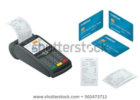 Fizetés bankkártya izometrikus ikon vektor felirat Stock fotó © pikepicture