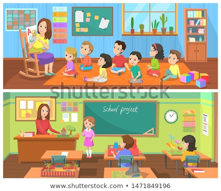 School Project Teacher Kids in Classroom Vector Stock photo © robuart