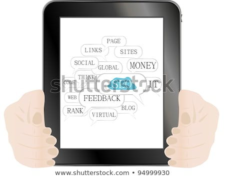 Tablet Pc With Seo Sign And Tags On Optimization Theme Stock fotó © fotoscool