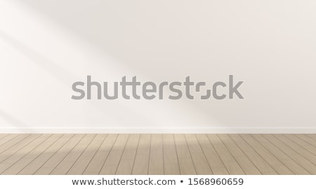 White room with pattern wall and wooden floor Stock photo © H2O