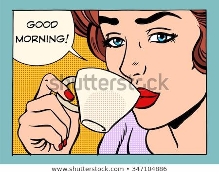 Coffee Beautiful Woman With Cup Retro Style Lady Stock fotó © studiostoks
