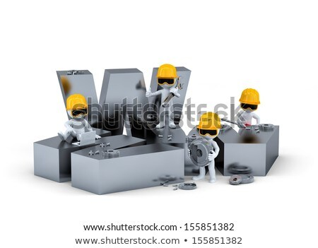 group of construction workersbuilders with www sign website building or repair concept isolated o stock photo © kirill_m
