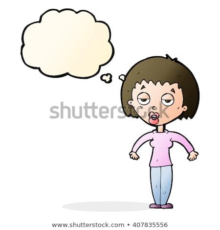 Cartoon vrouw schouders gedachte bel hand ontwerp Stockfoto © lineartestpilot