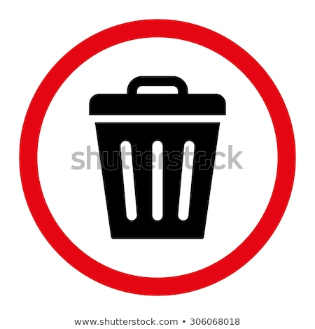 Trash Can flat black and white colors rounded raster icon Stock photo © ahasoft