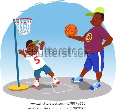 Boy Playing Basketball in Backyard Illustration Stock photo © artisticco