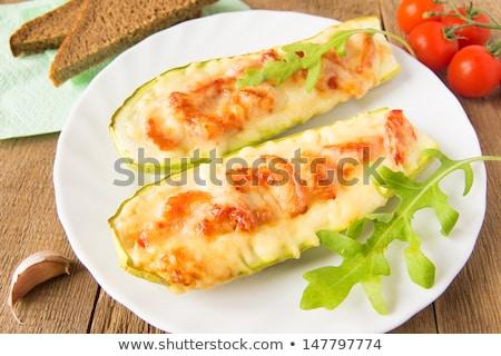 bread slice with zucchini, cheese cream and tomato Stock photo © M-studio