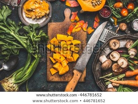 Zöld sütőtök hozzávalók ízletes vegetáriánus főzés Stock fotó © artsvitlyna