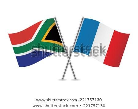 Iki bayraklar Fransa Güney Afrika yalıtılmış Stok fotoğraf © MikhailMishchenko