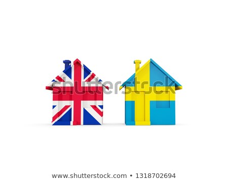 Two houses with flags of United Kingdom and sweden Stock photo © MikhailMishchenko