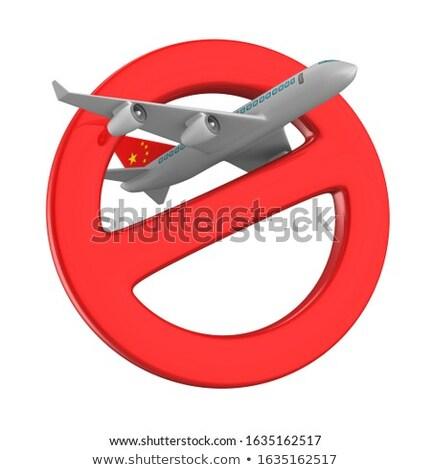 Vliegtuig teken verboden witte geïsoleerd 3D Stockfoto © ISerg