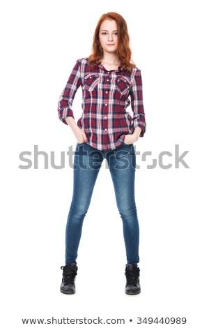 Jeune femme adolescente à carreaux shirt tshirt design Photo stock © dolgachov
