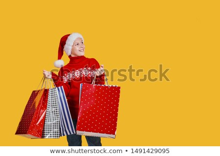 Aranyos kicsi fiú ünnep ajándék táska Stock fotó © Lopolo