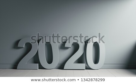 2020 Number Text on Wooden Floor Against Wall Stock photo © make