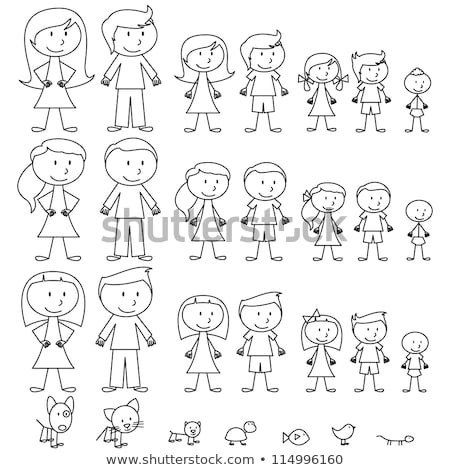 black and white cartoon girls characters large set Stock photo © izakowski