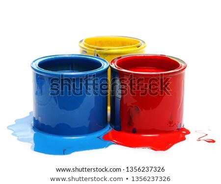 Spilled red puddle of paint with can on an yellow background. Stock photo © artjazz