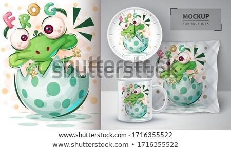 Mutlu kurbağa poster vektör eps 10 Stok fotoğraf © rwgusev