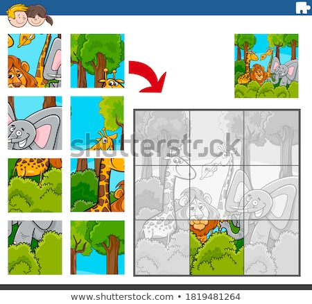 Cartoon Vector Illustration of Education Jigsaw Puzzle Game Stock photo © natali_brill