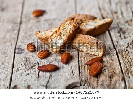 Friss olasz sütik mandula diók fa asztal Stock fotó © marylooo