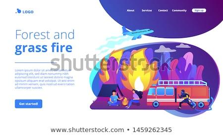 önleme söndürülmesi güç ateş iniş sayfa acil durum hizmet Stok fotoğraf © RAStudio