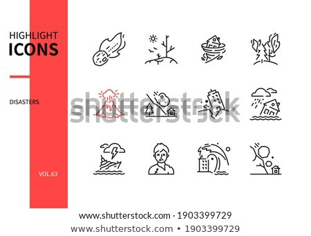 Zombie apocalypse - modern line design style icons set Stock photo © Decorwithme