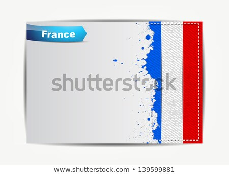 Stitched France flag with grunge paper frame Stock photo © maxmitzu