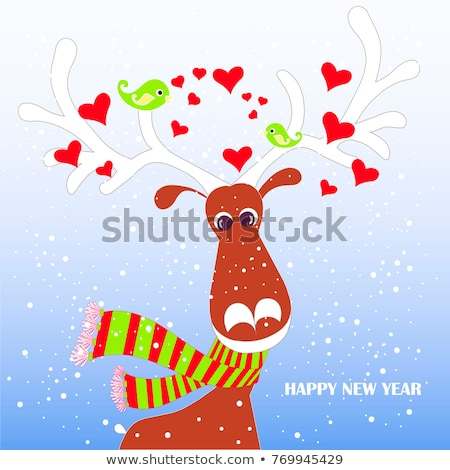 Stock photo: White Christmas Greetin Card on the Blue Background