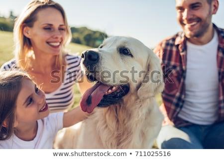 family with children and dog having walk stock photo © kzenon