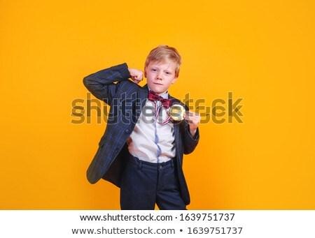 knap · weinig · jongen · cardigan · shirt · geïsoleerd - stockfoto © nejron