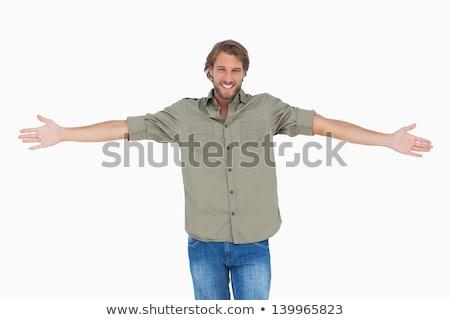 человека · оружия · широкий · открытых · трава · счастливым - Сток-фото © feedough