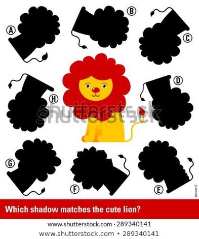 Correspondente jovem desenho animado leão direito sombra Foto stock © adrian_n