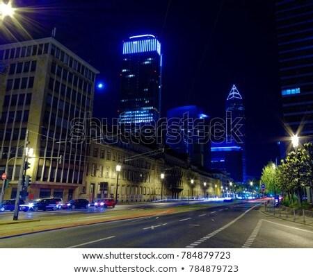 Fény autók Frankfurt éjszaka Stock fotó © meinzahn
