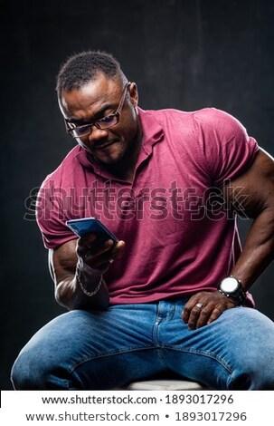 фото · молодые · африканских · спортсмен · позируют · черный - Сток-фото © deandrobot