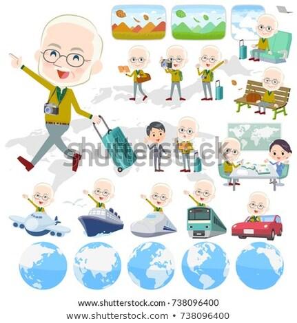 Geel oude man ingesteld landschap wereld Stockfoto © toyotoyo