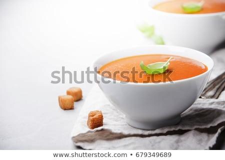 sopa · de · tomate · manjericão · branco · prato · mármore · fundo - foto stock © dash