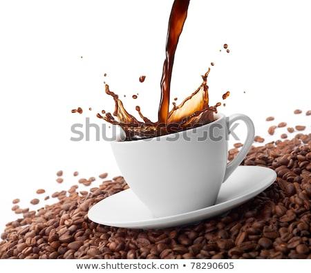 Stockfoto: Beker · koffie · bonen · boven · zwarte · koffie