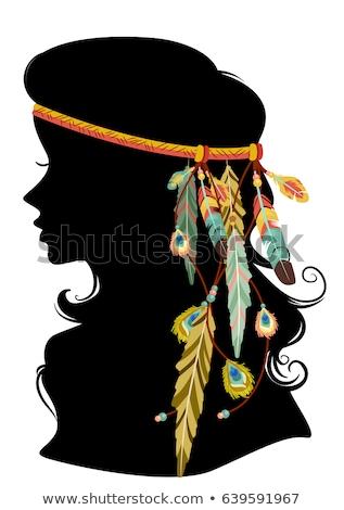 Girl Silhouette Boho Hair Feather Illustration Stock photo © lenm