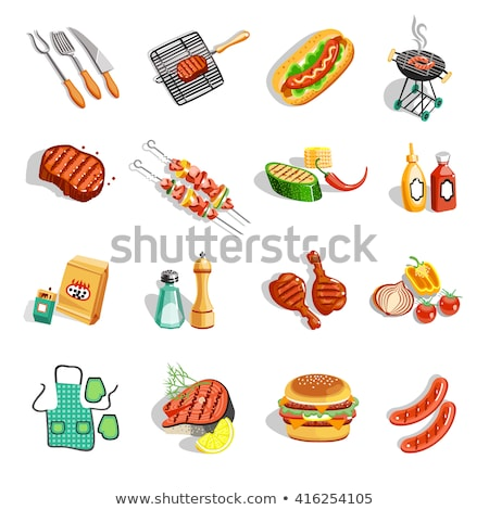 BBQ Hot Party Barbecue Set Vector Illustration Stock photo © robuart