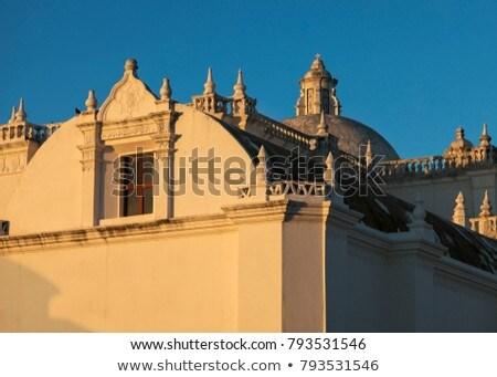 La igreja Nicarágua cidade azul noite Foto stock © benkrut