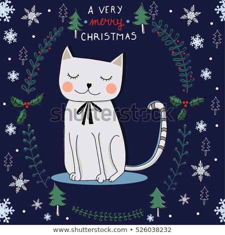 Cute акварель кошки зима вектора Сток-фото © balasoiu