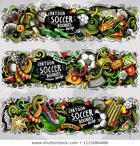 cartoon vector doodles football banners compositions set stock photo © balabolka