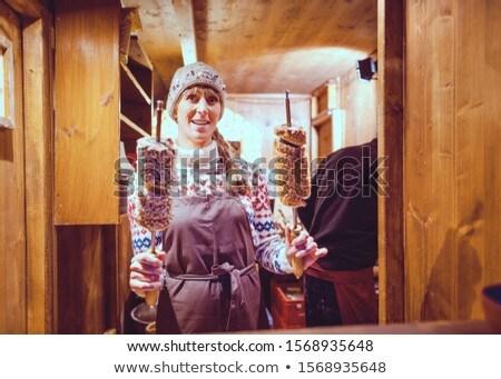 Bakker christmas markt verkopen zoete gebak Stockfoto © Kzenon