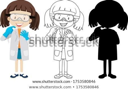 Sevimli kimyager kız siluet örnek Stok fotoğraf © bluering