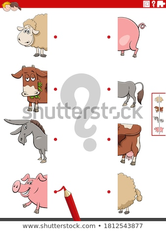match halves of pictures with animals educational task Stock photo © izakowski