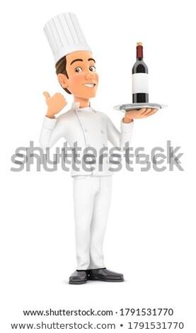 3D cabeza chef pie botella de vino pulgar Foto stock © 3dmask
