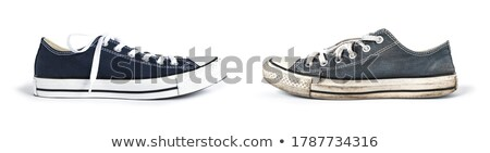 Stock fotó: öreg · cipők · bőr · fából · készült · izolált · fehér
